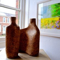 Painting by Ruth Gray / ceramic by Mouseflower Ceramics