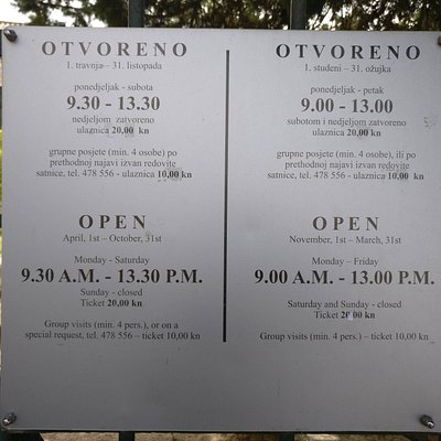 Opening Times (Price is now 25kn per person)