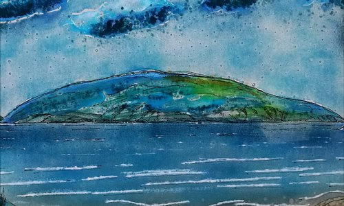 detail of fused glass window panel commission - Towards Cardigan Island