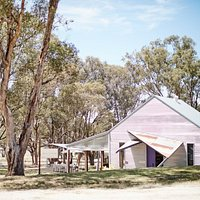 Scion Cellar Door is nestled into the natural landscape surrounded by grey box gums.