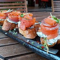 Our famous salmon gravlax toasts