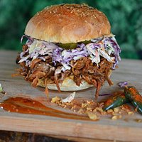 #pulledpork ! local ingredients ! cooked 12 hours ! BBQ !