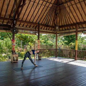Our beautiful yoga space surrounded by green luscious gardens