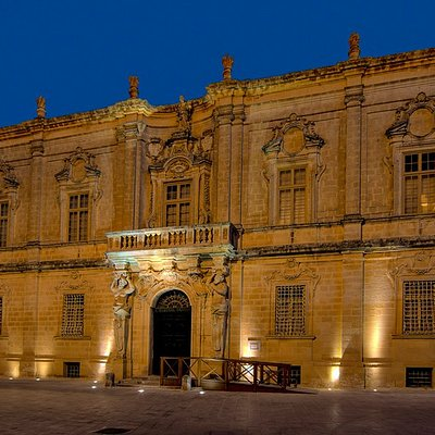 The Facade of the Magnificent baroque palace which houses the Mdina Cathedral Museum