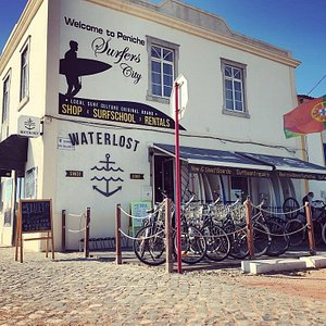 The Waterlost shop and Waterlost Surfschool basecamp in Peniche!
