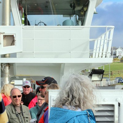 Checking out the Shannon Breeze (ferry) before departing Killimer to cross the Shannon Estuary.
