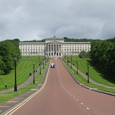 Looking down the mile long approach to the Irish Parliament Building, Sormont.