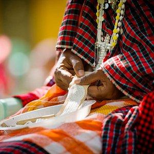 Maasai mamas beading at Sidai Center