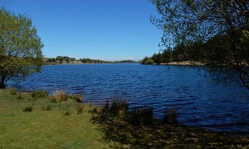 Fernworthy reservoir on a clear, sunny day.