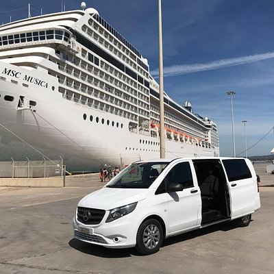 Our lovely white van, ready at port of Katakolon (Ancient Olympia)