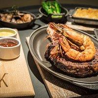 USDA prime steak with king prawn topping