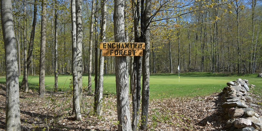 Enchanted Forest - sign leading to pathway on back nine