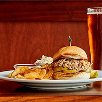 Vienna Red Lager-Braised Pulled Pork Sandwich