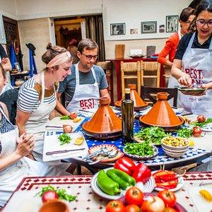 During the tajine cooking class
