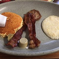 Great bacon, pancake, and grits