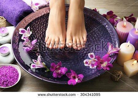 Spa rituals: body scrub, manicure, pedicure and foot therapy