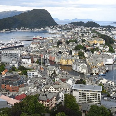 A part of Aalesund City and the Cruise Terminal to the left.