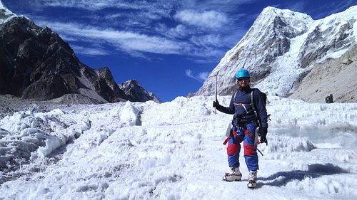 Glacier walking on Rathong Glacier