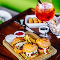 Quickly! Tasty! Our pretty beef or chicken sliders.