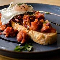 Plum Tomato Bruschetta with poached egg