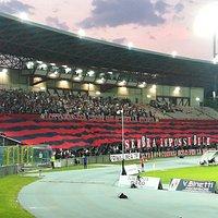Le foto dello stadio durante la partita valida per i quarti di finale Playoff Lega Pro 2017-2018