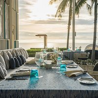 Azure Restaurant offers sun set ambiance with access to beach front