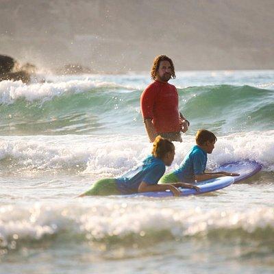Kid's lesson at Mavros Molos bay in July