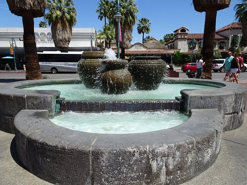 Fountain at the street entry for the Village Green