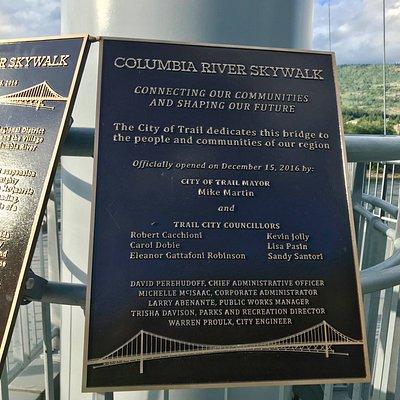 Skywalk Plaque