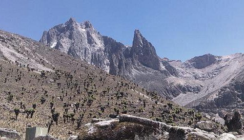 This is View of mount  Kenya  viewed from mackinders camp.