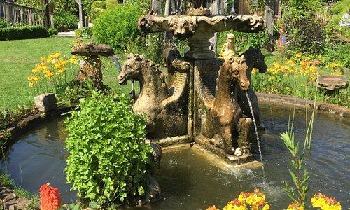 Fountain near cafe