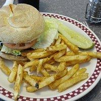 """burger """"végétarien"""" + frites (extra!!)"""