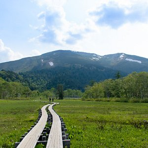 尾瀬ヶ原から至仏山(標高2228m)を望む