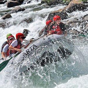 Rafting Clavey Falls Rapid on the Tuolumne River near Yosemite, California.