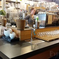 View of the counter (where you order) and serve-yourself water