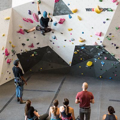 Bouldering in one of our textured climbing walls