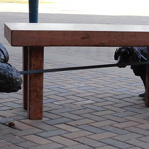 Bench and sculpture outside the Arden Theatre
