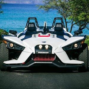 Pearl White Polaris Slingshot by Maui Kart | Makena