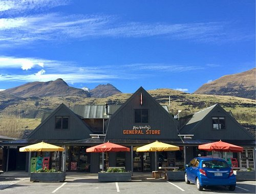 Blue skies above Mrs Woolly's General store today