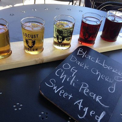A taster flight of cider at Locust Cider Taproom in Ballard.
