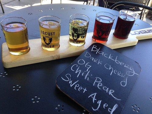 A taster flight of cider at Locust Cider Taproom in Ballard.
