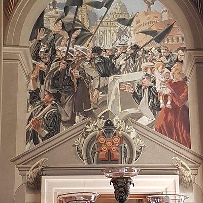 pannello destro, affresco di Duilio Cambellotti