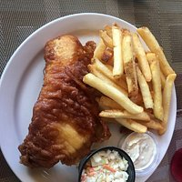 Single piece haddock and chips with coleslaw