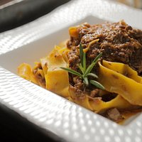Pappardelle noodles with rabbit sauce