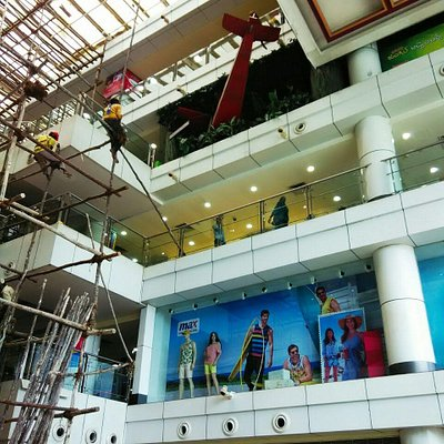Construction work going on in the Mall. Houses a crashed aero plane replica