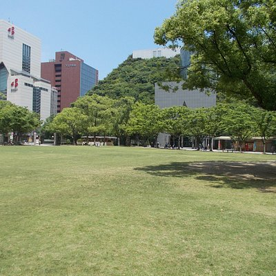園内の芝生広場(写真右手はアクロスのステップガーデン)