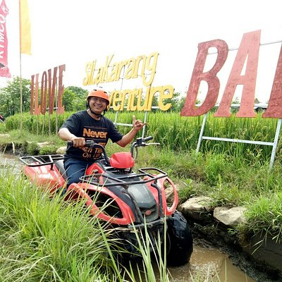 Atv ride at the jungle,  village,  rice field, village,  dirty track at Silakarang Atv