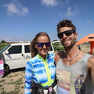 Welcome to Sicily! This is us (Lilla & Gabor) on the kitesurf spot :)