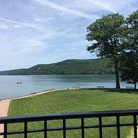 Had a wonderful view of Otesaga Lake from the porch rocking chairs at the Otesaga Hotel.