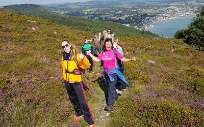 """Visitors to the area on a Mountain Sojourns Heritage walk exploring """"Granite and Maritime Men """"."""